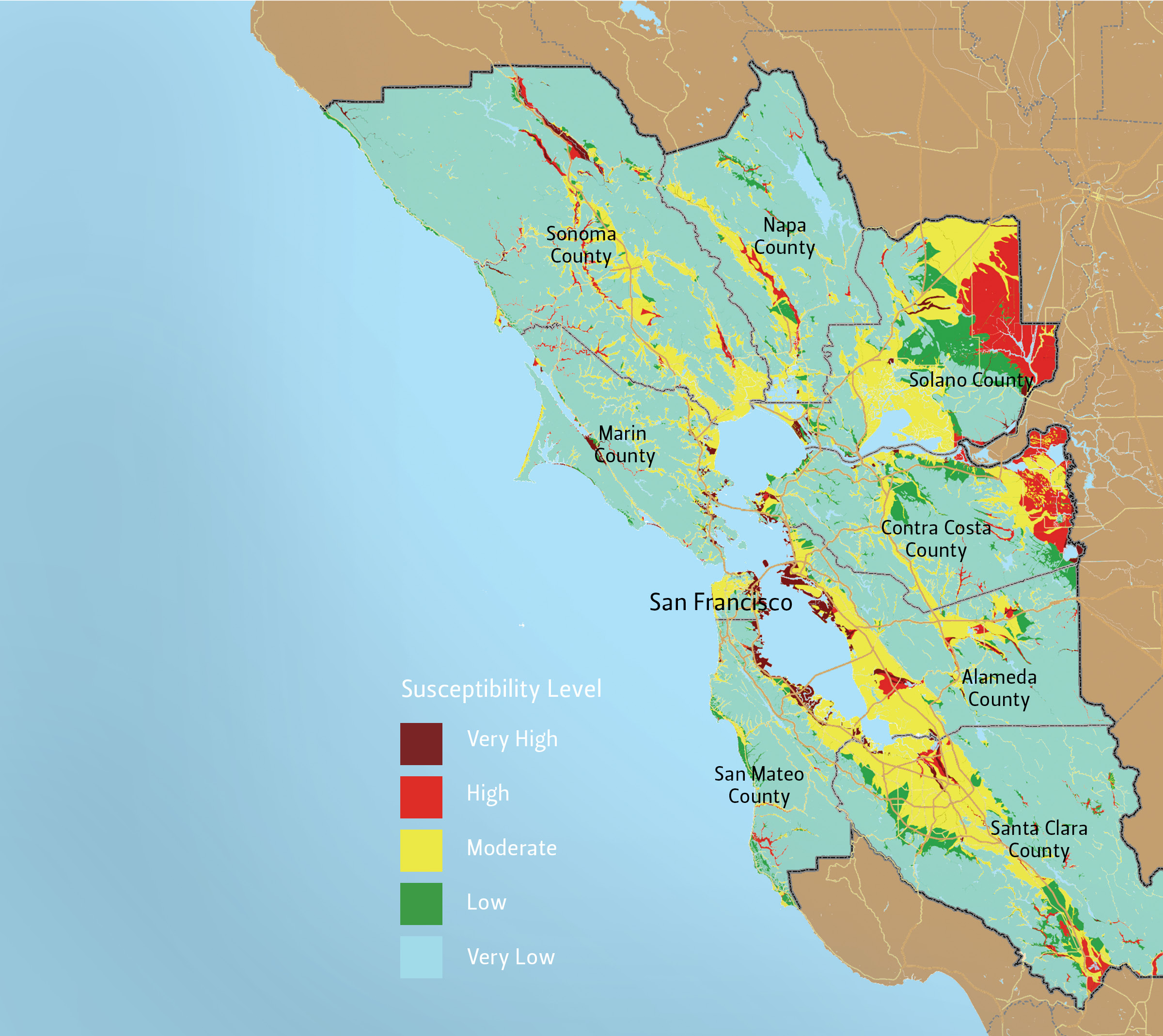 San Fransico Bay Area Liquifaction Map CSE for Landscape Architects