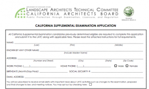 California Supplemental Exam for landscape architects part 1 personal information