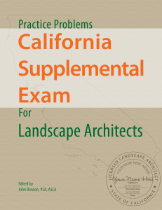 Practice Exam for the California Supplemental Exam of Landscape Architects