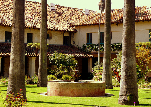 Santa Barbara Mission Lawn Around Fountain - Lawn is a unifying element in the landscape. Photo by Rachel Titiriga.