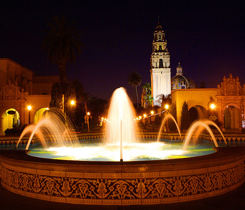 Fountain at Balboa Park at Night. California Supplemental Exam for landscape architects (CSE).