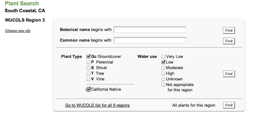 waterwonk.us plant selection screen